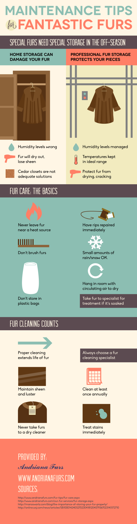 Maintenance tips for furs - Infographics